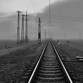 track foggy  by František Valčík - Transportation Railway Tracks