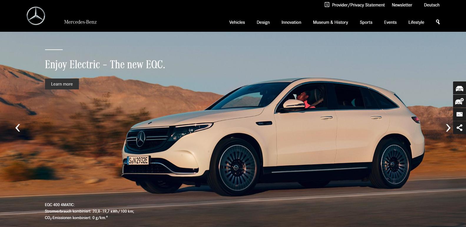 screenshot of mercedes benz wordpress website