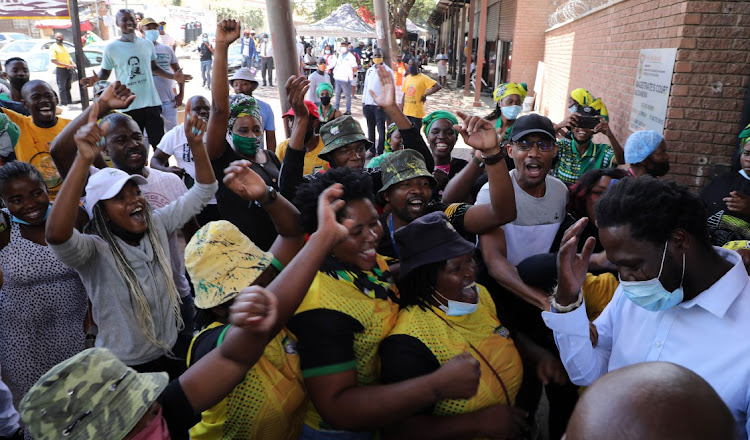Members of the ANC outside Alexandra Magistrates Court during the appearance of rape accused Kenneth Mgaga.
