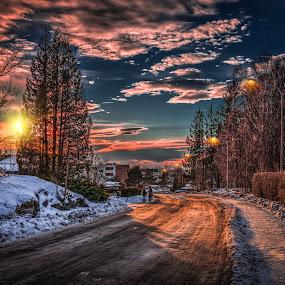 Askim, Norway 137 by IP Maesstro - Digital Art Places ( moon, winter, ip maesstro, hdr, sunset, snow, street, sunrise, landscape, sun, norway,  )