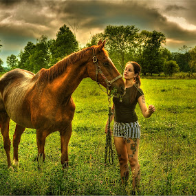 A GIRLS BEST FRIEND by Udo Weber - Animals Horses ( love, animals, horses, hdr, green, meadow )