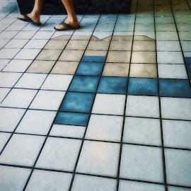 Square Peg by Allen Crenshaw - Illustration Places ( walking, illustration, flip flops, tile floor, man, photography, design )