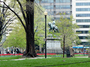 Photo: The figure is James Birdseye McPherson (1828-1864), McPherson Square, I & 15th Sts. NW. The equestrian bronze by Louis T Rebisso was erected by his comrades of the Society of the Army of the Tennessee. On July 22 he was surrounded and shot by a line of Confederate skirmishers near Atlanta. -- http://en.wikipedia.org/wiki/James_B._McPherson