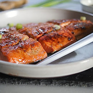 Miso and Ginger Glazed Salmon.