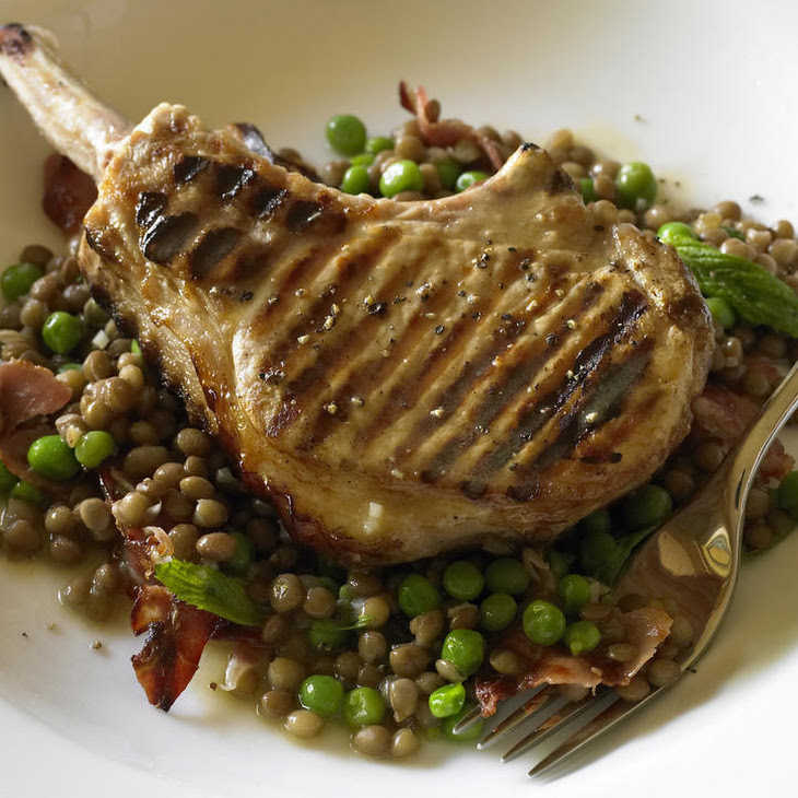 Pork Cutlets with Lentils and Pancetta