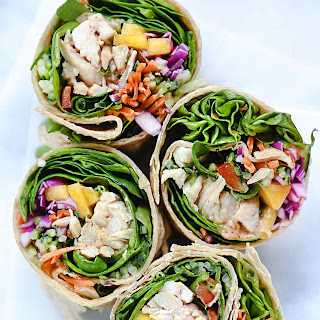 Chicken and Mango Rainbow Veggie Wraps.