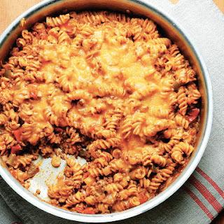 One-Skillet Beefy Enchilada Noodle Casserole Recipe
