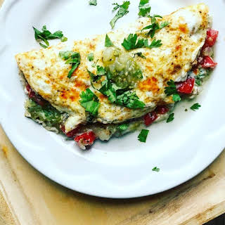 Salsa Verde Stuffed Egg White Omelet.