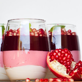 Triple-Layer Pomegranate Mousse Dessert.