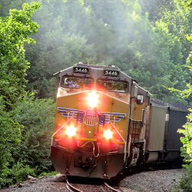 Dragging Coal Buckets by Rick Covert - Transportation Trains ( railroad, locomotive, arkansas, railroad tracks, coal, trains, lights )