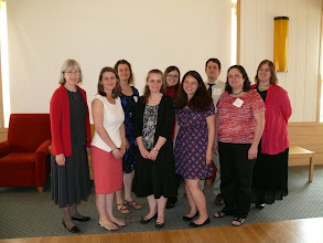 Photo: NEMLA Board--outgoing and incoming members (left to right): Suzanne Lovejoy, Anna Kijas, Kerry Masteller, Jennifer Hunt, Sarah Funke Donovan, Zoe Rath, Sam Cook, Sofia Bercerra-Licha, Jennifer Olson
