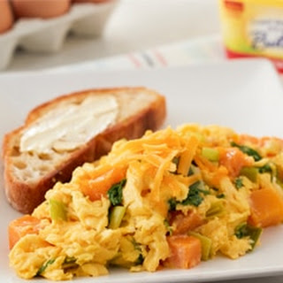 Fluffy Scrambled Eggs with Butternut Squash & Kale.