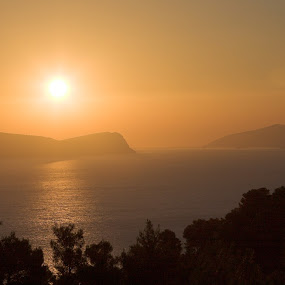 Sunrise on Spetses by Gordon Coldwell - Landscapes Waterscapes