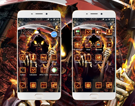 Flames Hell Moloch-APUS Launcher theme - screenshot