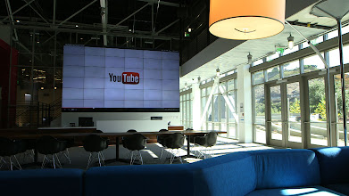 Photo: The 36-monitor video wall at YouTube Space LA