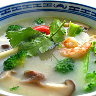 "Real Tom Yum Soup with Coconut Milk (""Tom Khaa"")."