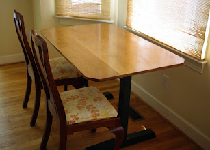 """Photo: Cherry-topped trestle table.  This Shaker-style table has a solid cherry top (48""""X30""""X3/4"""") and a painted yellow pine base.  (Chairs not included.)"""