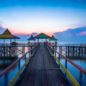 The other Huts by Robertho Ponomban - Landscapes Beaches ( bluehour, huts, blue, sunrise, beach )