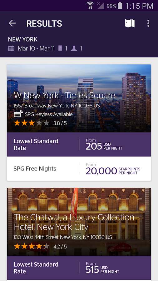 SPG: Starwood Hotels & Resorts- screenshot