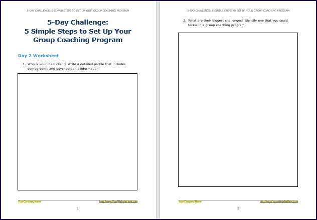Create Your Group Coaching Program - Challenge Worksheet 2
