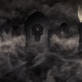 Cemetery At Night With Tombstones With Skulls And Cloudy Sky Ful by Aleksandar Ilic - Illustration Holiday ( magic, symbol, yard, hang, shadow, moonlight, dusk, concept, headstone, clouds, mist, graveyard, halloween, pumpkins, gray, cemetry, dark, gloomy, season, skull, 3d illustration, event, darkness, cemetery, sky, midnight, haunting, horror, tombstone, grave, tomb, night, black, toombstones, misty, jack, spooky, celebration, face, moon, 3d rendering, october, autumn, evil, evening, pumpkin, party, fog )