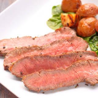 Flat Iron Steak with Brown Sugar Bourbon Marinade.
