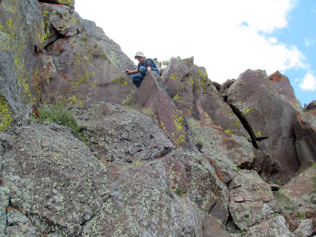 Climbing down from the summit ridge