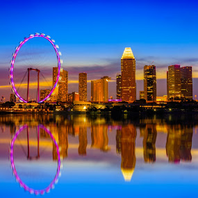 Skyline and view of skyscrapers at twilight time in Singapore. by Nuttawut Uttamaharach - City,  Street & Park  Vistas ( famous, reflection, skyline, wheel, skyscrapers, exterior, silhouette, architecture, cityscape, travel, landscape, singapore, panorama, business, city, center, modern, sky, tree, asia, marina, east, light, evening, commercial, downtown, financial, building, dusk, urban, tower, bay, sunset, night, finance, view, hotel, bridge, river )