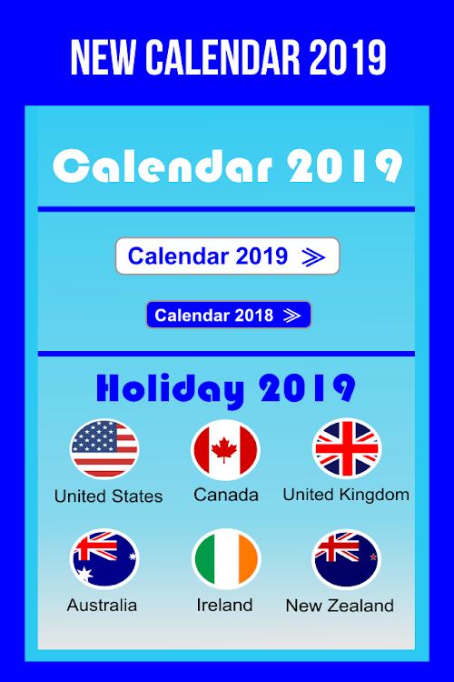 Calendario 2019 English.Calendar In English 2019 Free Android Aplikace Appagg