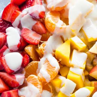 Fruit Salad with Healthy Honey Yogurt Sauce.