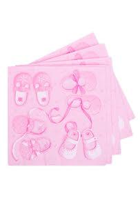 Servetter, babyshower rosa skor