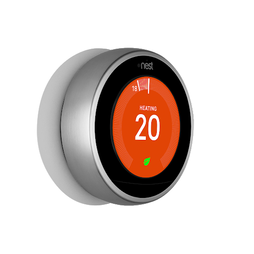 Vista de ángulo lateral de Nest Learning Thermostat, tercera generación