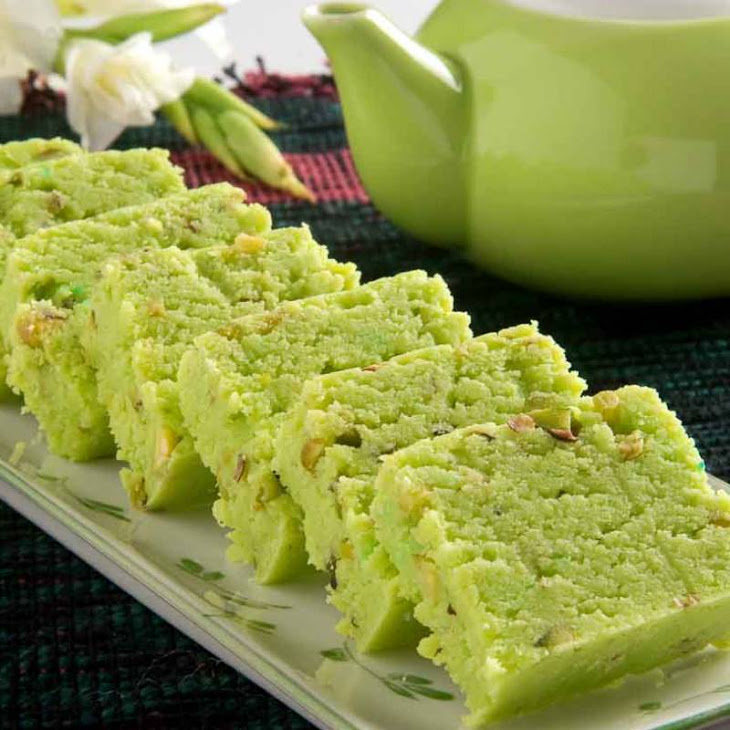 Pista Burfi Recipe (Indian Spiced Pistachio Fudge)