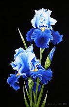 Photo: 421, Нетронина Наталья, Серия Цветочный калейдоскоп -Ирис сине-голубой, Масло, замша (живопись по бархату), 40х30см,