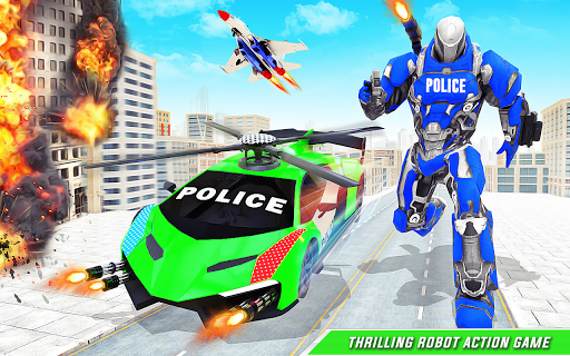 Flying Police Helicopter Car Transform Robot Games screenshots 7