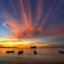 Sunset by PENDI KAMRI - Landscapes Beaches ( sky, sunlight, sunrise, sunset, beach, boats, clouds, water, sea,  )