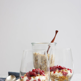 Maple Tahini Granola With Cranberry Chutney And Salted Maple Caramel.