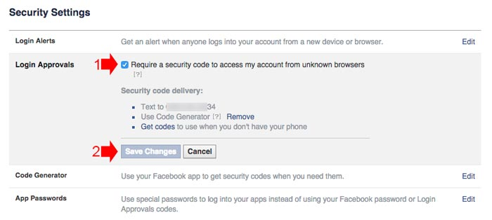 how to receive alert if someone logged in to your facebook account