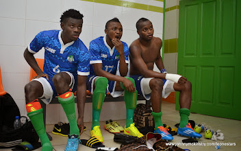 Photo: Mohamed Kamanor, Umaru 'Zingalay' Bagura and David Simbo [Leone Stars v Ivory Coast, 6 September 2014 (Pic © Darren McKinstry / www.johnnymckinstry.com)]