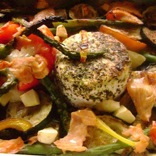 Baked Quark Cheese in Bed of Bread and Roasted Vegetables with Salmon.
