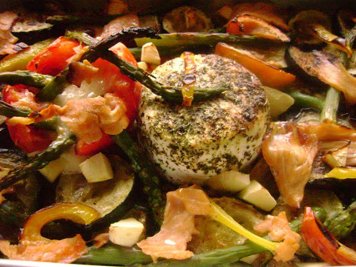 Baked Quark Cheese in Bed of Bread and Roasted Vegetables with Salmon
