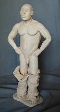 """Photo: Tokay - 12"""" tall - hi fire ceramic clay - unglazed"""