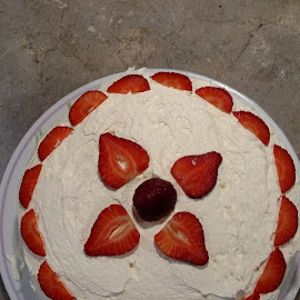 Strawberry Cake by Sandra Barnes - Food & Drink Cooking & Baking ( red, dessert, cake, fruit, food )