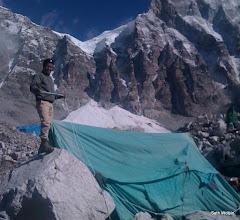Photo: Pasang takes down the kitchen tent