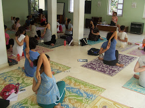 Photo: 1 Month YTT Course - Batch of May 2008 - Jeenal Mehta conducting Asana's Class (students performing Gomukhasana).