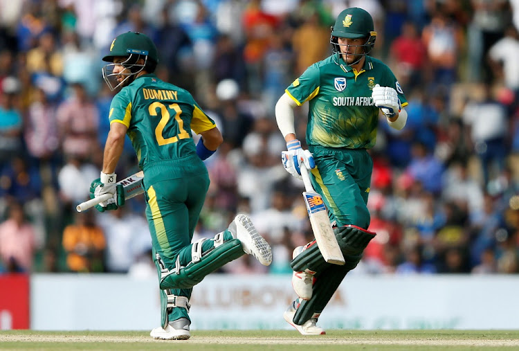 South Africa's JP Duminy, left, and Willem Mulder run between wickets at the first One Day International, in Dambulla, Sri Lanka, July 29 2018. Picture: REUTERS
