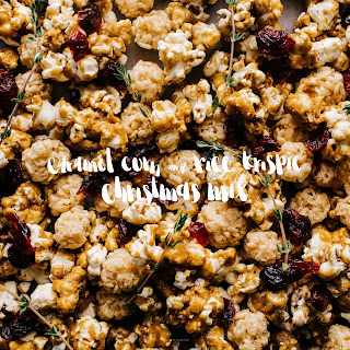 Festive Caramel Corn and Rice Krispie Mix
