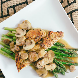 Sautéed Chicken and Mushroom with Broiled Asparagus