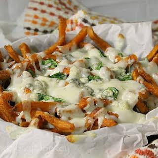 Baked Buffalo Chicken Sweet Potato Fries.