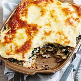 Mushroom And Spinach Lasagne.